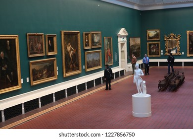 UBLIN, IRELAND - October 18, 2018: Ä°nterior of the National Museum of Ireland, established on the 14th August 1877.