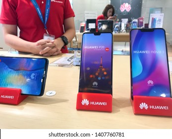 "UBOLRATTHANI THAILAND- MAY 26: Huawei shop in news ""Google Pulls Huawei's License for Android, Apps After US Blacklisting"" MAY 26, 2019 in Ubolrat thani province,Thailand"