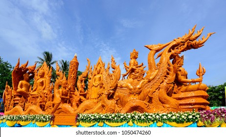 The Ubon Ratchathani Candle Festival, the most elaborate of the traditional parading of candles to temples is held in Ubon Ratchathani, North-East region, Thailand