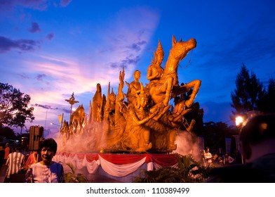 "UBON RATCHATHANI, THAILAND - AUGUST 2: ""The horses are carved out of wax, Thai art form of wax(Ubon Candle Festival 2012) on August 2, 2012, UbonRatchathani, Thailand"
