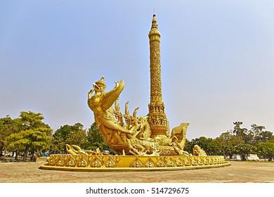 UBON RATCHATHANI, THAILAND - FEB 13, 2016: The candle sculpture at Thung Si Muang park showcases northeastern style visual art.