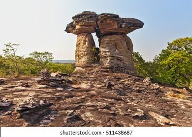 UBON RATCHATHANI, THAILAND - Feb 15, 2016: A formation of rocks in Thailand's northeastern provice of Ubon Ratchathani.