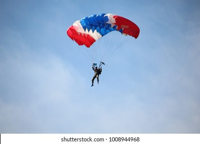 Ubon Ratchathani, Thailand - January 13, 2018: Parachuting show on the National Children's Day by the Royal Thai Air Force at Ubon Ratchathani, Thailand.