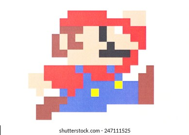 UBON RATCHATHANI, THAILAND - JANUARY 25, 2015: Mario pixel art printed on poster, Mario is a fictional character in the Mario video game franchise, created by Nintendo, Illustrative editorial