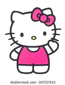 UBON RATCHATHANI, THAILAND - JANUARY 27, 2015: Hello Kitty printed on poster, Hello Kitty is a fictional character produced by the Japanese company Sanrio, Illustrative editorial.