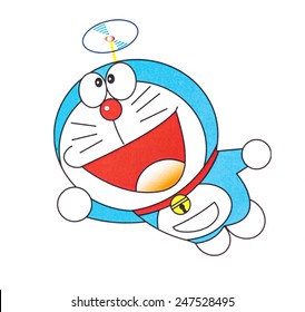 UBON RATCHATHANI, THAILAND - JANUARY 27, 2015: Doraemon printed on poster, Doraemon is a Japanese manga series written and illustrated by the manga writing team Fujiko Fujio , Illustrative editorial.