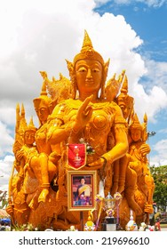 "UBON RATCHATHANI, THAILAND - July 12: ""The Candle are carved out of wax,  Thai art form of wax(Ubon Candle Festival 2014) on July 12, 2014, UbonRatchathani, Thailand"