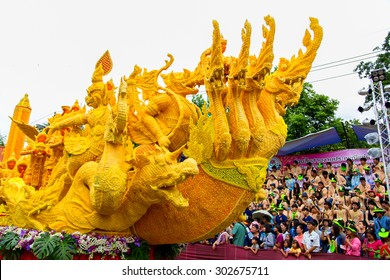 UBON RATCHATHANI, THAILAND - July 31: Ubon Candle Festival, The Candles are carved out of wax, Thai art form of wax(Ubon Candle Festival 2015) on July 31, 2015, UbonRatchathani, Thailand.