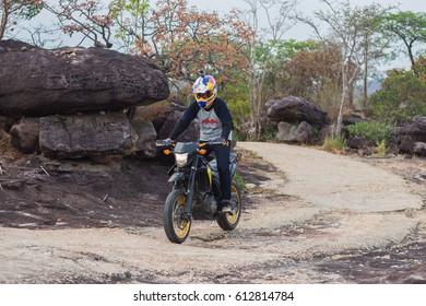 UBON RATCHATHANI, THAILAND- MARCH 25 2017: Private Motorcycle, Honda CRF. Photo at Pha Chanadai Cliff from Ubon Ratchathani, Thailand.