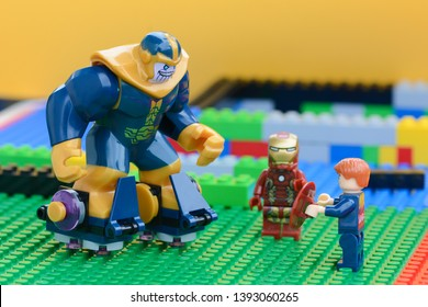 UBON RATCHATHANI, THAILAND - MAY 9, 2019: Thanos VS Captain America and Iron Man, Marvel characters minifigures