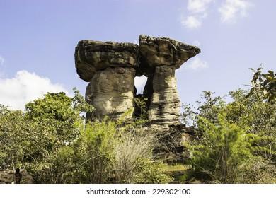 """UBON RATCHATHANI, THAILAND - November 2014: """"stonehenge Thailand"""" stonehenge In National Park Pha-Tam In Ubonratchathani Thailand on November 3, 2014, UbonRatchathani, Thailand."""