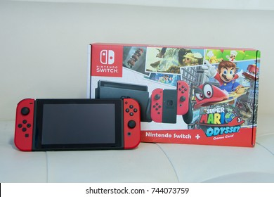 UBON RATCHATHANI, THAILAND - OCTOBER 29, 2017: Super Mario Odyssey Bundle Set Nintendo Switch, Mario is a fictional character in the Mario video game franchise, by Nintendo, Illustrative editorial