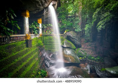 Ubon Ratchathani,Thailand Septenber 12,2016:The waterfall in Wat Tham Heo Sin Chai Haewsindhuchai cave in Ubon Ratchathani province of eastern Thailand.