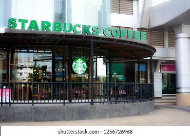 Ubonratchathan / Thailand - December 9 , 2018 : Starbucks Coffee logo at Sunee Grand Ubonratchathani.  popular coffee shop in Thailand.
