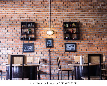 Ubonratchathani, Thailand - Februaty 2018 : The coffee shop in a vintage style Wall tiles cement red.