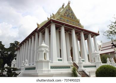 Ubosot , an Ubosot in Thai-Chinese style , Thai temple architecture , Wat Chaloemphrakiat Worawihan ,Thailand.