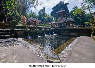 Ubud, Bali / Indonesia - April 22, 2019 : Gunung Kawi temple Sebatu (Pura Gunung Kawi Sebatu), Beautiful Holy spring water temple in Sebatu village, Tegallalang.