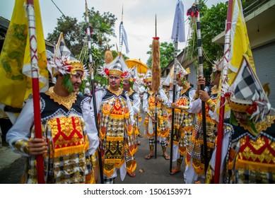Ubud, Bali / Indonesia - December 15, 2015 : Baris dancer during hindu priest cremation ceremony