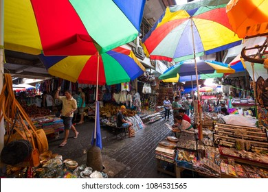Ubud, Bali / Indonesia - December 26 2017: View of the Ubud market with colourful umbrellas