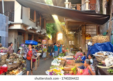 Ubud, Bali, Indonesia - January, 2020: Morning Market in Ubud, Bali Island, Indonesia. The Morning Market that opens in the first hours of the morning.