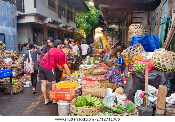 Ubud, Bali, Indonesia - January, 2020: Indonesia Bali Ubud Morning Market. This Sunday Which Is Alive From The Early Hours Of The Morning.