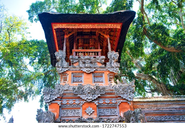 Ubud, Bali, Indonesia - January, 2020: Pura Dalem Desa Pakraman Ubud, Bali, Indonesia.