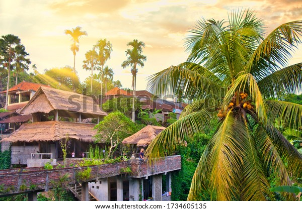 Ubud, Bali, Indonesia - January, 2020: Warung River View in Ubud, Bali Island, Indonesia