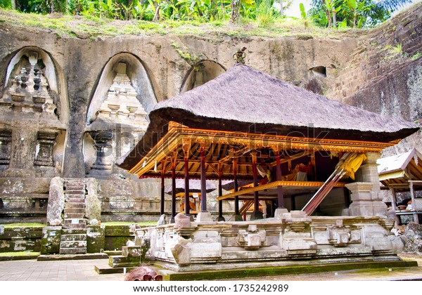 Ubud, Bali, Indonesia - January, 2020: Pura Gunung Kawi Temple in Ubud, Bali Island, Indonesia. Ancient carved in the stone temple with royal tombs.