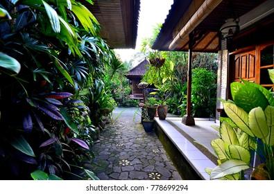 UBUD, BALI, INDONESIA - MARCH 26, 2016 : Nirwa Homestay view in Ubud, Indonesia.