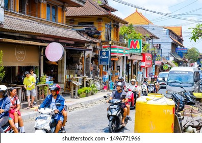 UBUD, Bali, INDONESIA - September 16, 2018: Bali street with tourists, shops, bars and other leisure facilities