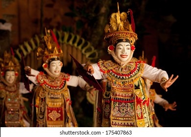 UBUD, BALI, INDONESIA - SEPTEMBER 20: Traditional dance  Legong and Barong is performed by local professional actors in Ubud Palace on September 20, 2013 in Ubud, Bali, Indonesia.
