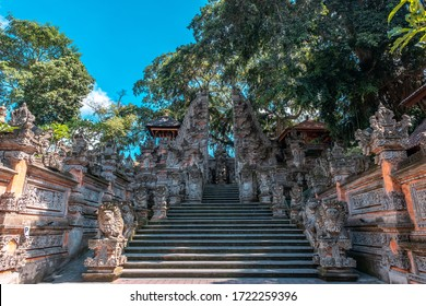 """Ubud, Bali Island / Indonesia - February 21, 2020: Local name of this place """"Pura Dalem Desa Pakraman"""" this place in center of the Ubud Province"""