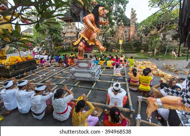 UBUD, BALI - MAR 8, 2016: Unidentified people during the celebration of Nyepi - Balinese Day of Silence. Day Nyepi is also celebrated as New Year - according Balinese calendar now came 1938 year.