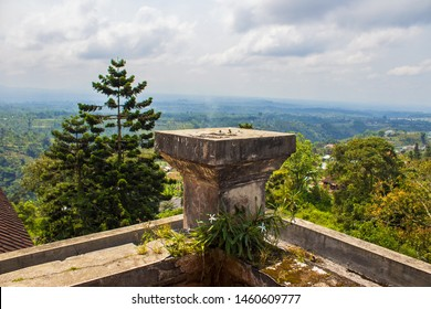Ubud, Bali/Indonesia - 09.19.2017: Beautiful view from the terrace of the abandoned hotel Bedugul Taman Rekreasi Hotel & Resort (also known as Ghost Palace Hotel) on surrounding nature and mountains