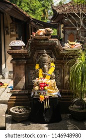 Ubud, Bali/Indonesia May 30 2018: The Balinese festival of Galungan celebrates the triumph of good over evil Visiting ancestral spirits receive hospitality and offerings from family members.