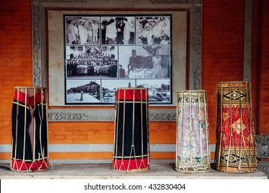 "Ubud, Indonesia - February 26, 2016: Traditional balinese  music instruments instruments for ""Gamelan"" ensemble music on February 26, 2016 in  Ubud, Bali, Indonesia."