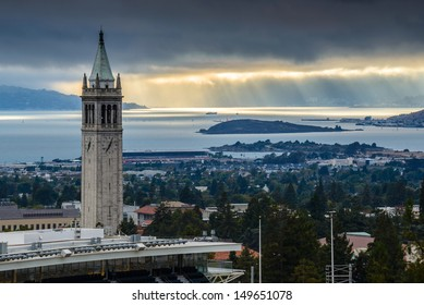 UC Berkeley Sather Tower with Sunrays