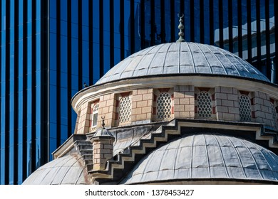 Uc Yol Mosque In Front Of Modern Plaza Buildings, Maslak, Istanbul, Turkey