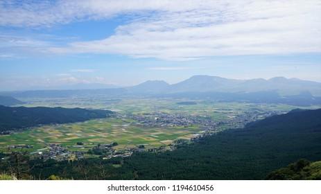Uchinomaki hot spring seen from Mt. Aso, Kumamoto Prefecture of Kyushu, Japan,