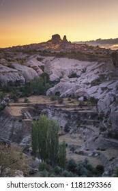 Uchisar Castle in Cappadocia Turkey, at Dusk