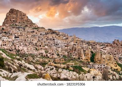 Uchisar Castle and town, Cappadocia, Central Anatolia, Turkey