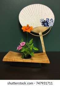 Uchiwa Fan and Flowers