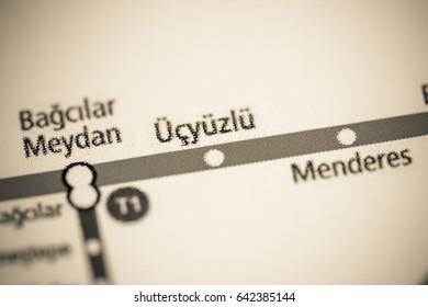 Ucyuzlu Station. Istanbul Metro map.