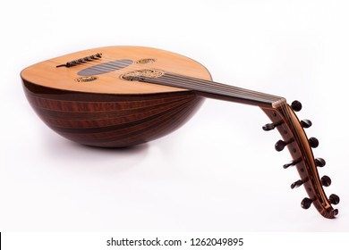 Ud musical instrument in white background