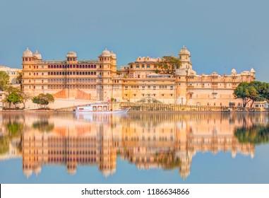 Udaipur City Palace from Lake Pichola. Udaipur, Rajasthan, India