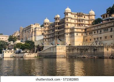 Udaipur city palace on the lake. India