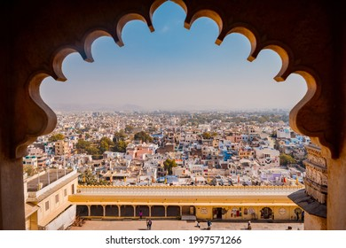 Udaipur, India - 01-16-2017: Udaipur City View Through Window of city Palace.