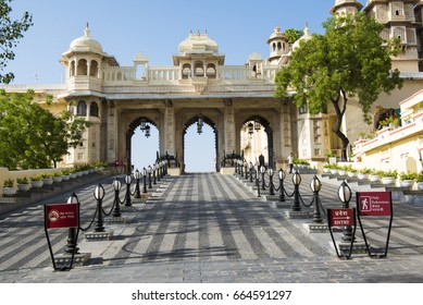 Udaipur / India 11 June 2017 Tripolia gate ( Tripolia Pol ) entrance to the City Palace  of Udaipur museum  at  Udaipur Rajasthan  India