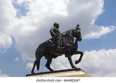 Udaipur / India 11 June 2017  bronze statue of Maharana Pratap on his horse stands atop Moti Magri (Pearl Mount)  at  Udaipur Rajasthan  India
