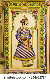 Udaipur / India 11 June 2017 dwarpal door sentry guard ( Watchman  ) painting at City palace fort in  Udaipur Rajasthan  India